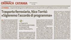 """Trasporto ferroviario, Nico Torrisi: """"Sigleremo l'accordo di Programma""""   Comitato Pendolari Siciliani"""