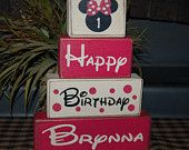 Mickey Minnie Mouse Polka dots Hot Pink Cupcake  Kids PERSONALIZED Name Wood Sign Shelf Blocks Primitive Country