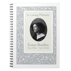 Floral Pattern Funeral Memorial Guest Book