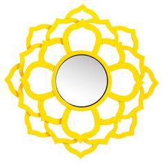 Bold yellow wall mirror
