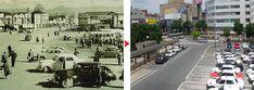 (旧)昭和25年頃の盛岡駅前広場と盛岡駅前商店街 (新)現在の盛岡駅タクシー乗り場と盛岡駅前商店街