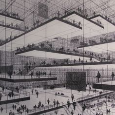 Architectural Drawing Design Conrad Roland, Drawing of an exhibition hall with floating. Theater Architecture, Floating Architecture, Architecture Graphics, Organic Architecture, Architecture Drawings, Interior Architecture, Auditorium Architecture, Fondation Cartier, Brutalist