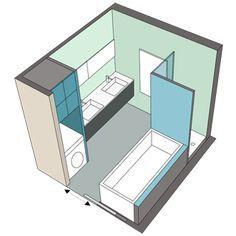 Salle de bains carrée de 6m²