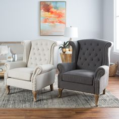Belham Living Tatum Tufted Arm Chair with Nailheads - Accent Chairs at Hayneedle Sofa Set Designs, Sofa Design, Interior Design, Living Room Accents, Accent Chairs For Living Room, Formal Living Rooms, Living Room Furniture, White Accent Chair, Home Living
