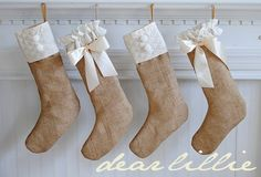 Love the Burlap and white/ cream going to make new stockings this year!!
