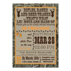 Little Boys Hunting Camo Baby Shower Invitations. These invitations feature deer and the great outdoors in orange and brown camouflage