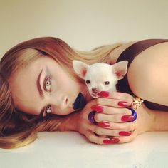 Solange Azagury-Partridge with Puppy | Cara Delevingne by Nick Knight, Instagram Editorial — Rochas
