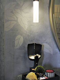 Stenciled Venetian plaster walls by Willem Racké in Mark Newman's bathroom at the 2011 San Francisco Decorator Showcase