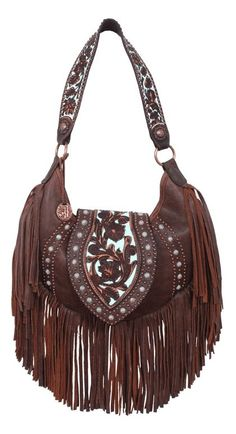 Catch the Fringe Frenzy! Get this half moon hobo handbag with vintage finish and mint turquoise background. Bag dimensions: x - from top of flap to bottom of fringe. From the leather ma Fringe Handbags, Fringe Purse, Fringe Bags, Leather Fringe, Leather Bag, Tooled Leather, My Bags, Purses And Bags, Boho Chic