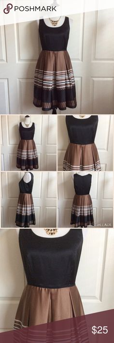"""Striped Fit and Flare Dress Black, Bronze & White Fit and Flare dress in great condition. Wide pleated skirt. Fully lined & zips up the back. 98%Poly 2%Spandex. No size label but manufacturer & care label is in tact. I believe it's a size 6/8. 14.5""""B, 38""""L. Cece's New York Dresses"""
