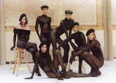 Irene Pfeiffer Xandra van Rooijen,seat Gurmit Kaur,Tereza Maxovagreen hat,Emma Sjoberg and Carla Bruni,Azzedine Alaia Fashion Books, 90s Fashion, Runway Fashion, High Fashion, Vintage Fashion, Fashion Tights, Herve Leger, Azzedine Alaia, Mode Editorials