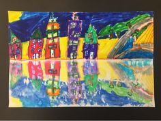 Really nice landscape lesson - color with markers and then paint bottom half with water - fold and press.