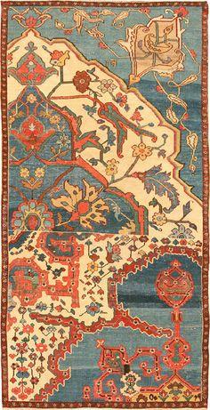 Antique Bakshaish Sampler Rug #42086  http://nazmiyalantiquerugs.com/antique-rugs/persian-antique-rugs/