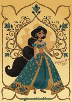"""coryjensenart: """" Princess Jasmine, inspired by the Limited Edition Disney Store doll! Mixed Media: Paper, Marker, Acrylic, and Digital. """""""