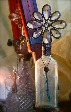 Ethereal Vintage Crystal Cross Bottle Aqua c1800s by tresorbleu