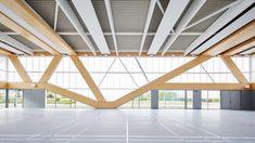 Diagonal columns create irregular windows for sports hall by Schemaa