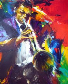 jazz solo Angela King Gallery - Peinture, 80x100 cm ©2009 par Christian Vey - trompetiste solo en couleur