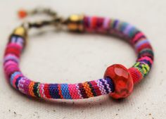 Orange Bead Bracelet Woven Bracelet Pink by LittleBitsOFaith
