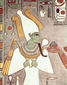 Relief of OsirisDetail of a wall painting depicts Osiris Lord...