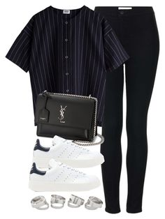 """Sin título #13309"" by vany-alvarado ❤ liked on Polyvore featuring Topshop, Yves Saint Laurent and adidas Originals"