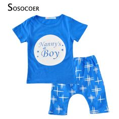 SOSOCOER Boy Clothing Sets Fashion Short Sleeves Stars Letter T Shirts+Shorts Pants 2pcs Baby Clothes 2017 Summer Kids Girl Set