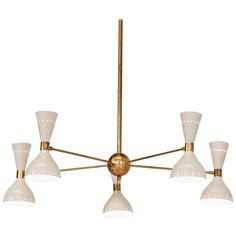 For Sale on - Beautiful modern chandelier Stilnovo style beige color, structure in brass with metal lampshades. Modern Brass Chandelier, Italian Chandelier, Contemporary Chandelier, Chandelier Pendant Lights, Ceiling Pendant, Chandeliers, Mid Century Chandelier, Metal Structure, Lampshades