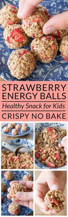 Crispy energy balls, strawberry granola bars, low sugar snack, healthy kids snack, crispy energy bites sub honey Low Sugar Snacks, No Bake Snacks, Yummy Snacks, Yummy Food, Diet Snacks, Healthy Snacks For Kids, Healthy Treats, Healthy Baking, Healthy Recipes
