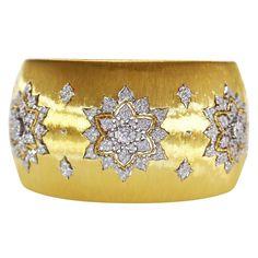 Buccellati Diamond Gold Wide Cuff Bracelet   1stdibs.com
