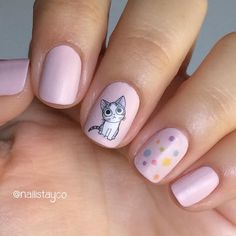 If you are a childlike, lovely person, then I'm sure you will enjoy these manicures. In the new year, you should also be lovely and happy. Cute Nail Art, Beautiful Nail Art, Gorgeous Nails, Pretty Nails, Cat Nail Designs, Acrylic Nail Designs, Nails For Kids, Girls Nails, Hello Nails
