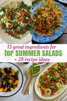 Summer Salads 13 Best Ingredients and over 28 Recipes Ideas Your most useful guide to preparing the best summer salads with 28 recipes Best Summer Salads, Summer Salad Recipes, Healthy Salad Recipes, Veggie Recipes, Lunch Recipes, Indian Food Recipes, Delicious Recipes, Healthy Cooking, Eating Healthy