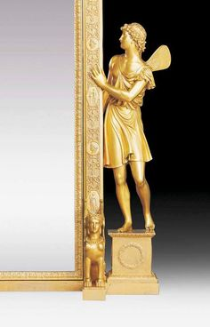 """ROYAL TABLE PSYCHE MIRROR """"AU FLORE ET ZEPHIRE"""",Empire/Restauration, by M.G. BIENNAIS (Martin Guillaume Biennais, Lacochère 1764-1843 Paris), Paris circa 1820. Matte and polished gilt bronze, also embossed. The arched pivoting mirror with the matrimonial coat of arms of the dukal and royal Wurttemberg house. The coat of arms flanked by 2 reclining female figures; the frame flanked by the figures of Flora and Zephyr. With exceptionally fine chasing and embossing with egg and dart ornament"""