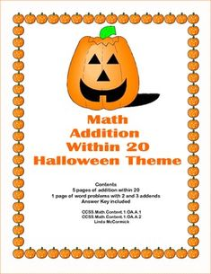 "Math Worksheets Addition to 20 Practice Plus Word Problems This package is 14 pages of math worksheets with a ""Halloween Theme"". It's simple addition to 20 with five pages of practice and 1 page of word problems including 3 addends. This can be used as supplemental practice along with any math program. Answer Key is provided. It addresses CCSS.Math.Content.1.OA.A.1 CCSS.Math.Content.1.OA.A.2"