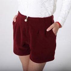 [ 40% OFF ] Korean Style Lady Fashion Woolen Shorts Skirts Plus Size L-3Xl Black & Red Elastic Waist Women Warm Capris Shorts