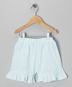 Take a look at this Blue Seersucker Ruffle Shorts - Infant, Toddler & Girls by Travelin' Trunk on #zulily today!