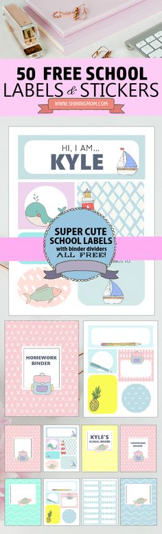 Here are super cute printable labels for school that will help you make your school year fun and organized! #printables #backtoschool #school #labels #freeschooltags #shiningmomprintables