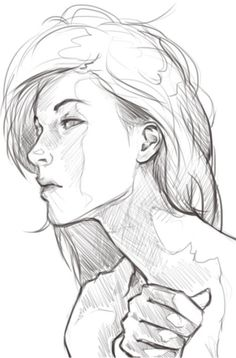 pencil, sketch, female, head