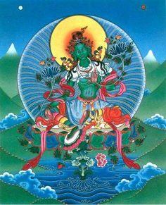 Astro Dakini's Dharma Stars * Zodiac Heaven : Dakini Day May ~ Venus Retrograde in Gemini Tibetan Tattoo, Tibetan Art, Tibetan Buddhism, Buddhist Art, Tara Goddess, Mother Goddess, Green Goddess, Tara Blanca, Spiritual Figures
