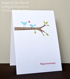 Stampin' Up ideas and supplies from Vicky at Crafting Clare's Paper Moments: Take Care anniversary lovebirds