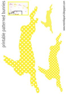 FREE printable yellow bunny templates (- for DIY easter wall decoration and bunny garlands)