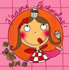 keladeco.com - #tableau enfant j'adore le #chocolat, idée cadeau #naissance fille, déco chambre bébé Cute Images, Cute Pictures, Art Fantaisiste, Decoupage, Party In A Box, Baby Art, My Little Girl, Whimsical Art, Types Of Art