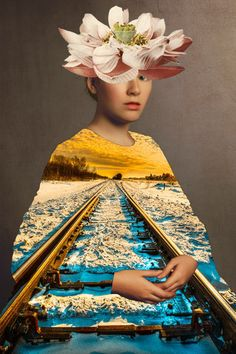 A train nowhere drives it after. Collage 2013 Waldemar Strempler