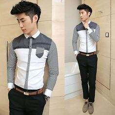 2014 Spring Newest Stripe Patchwork Slim Korean Style Cool Shirt Fashion Men Casual Shirts  $22.98
