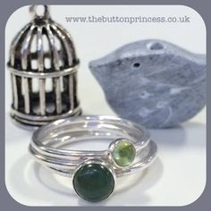"""NEW Green with Envy stackers now available in my little online shop... All you need to do is click that little """"shop now"""" button at the top of my page and you will be transported directly to my shop...as if by magic! These rings also qualify for free p&p... #jewellery #jewelry #silver #handmade #original #rings www.thebuttonprincess.co.uk"""