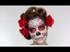 Easy Sugar Skull | Day Of The Dead MakeUp Tutorial For Halloween - YouTube