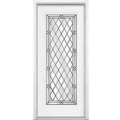 JELD-WEN 9 Lite Primed White Steel Entry Door with Large Pet Door ...