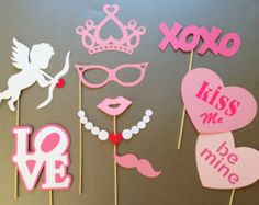 Valentine's Day Party Photobooth Props Holiday Photo Booth Props Set of 10