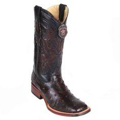 Los Altos Wide Square Toe Ostrich Boots