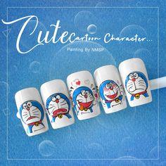 Doraemon, Wax Spa, Cartoon Nail Designs, Nail Bar, Swag Nails, Cute Nails, Anime, Painting, Disney