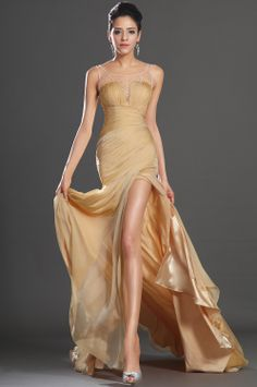 Gorgeous Satin And Chiffon Backless Sweep Train Cowlneck Beading #Evening #Dress