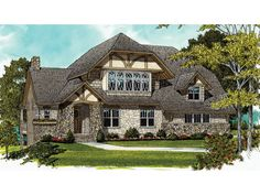 Home Plan HOMEPW10003 is a gorgeous 3467 sq ft, 2 story, 4 bedroom, 3 bathroom plan influenced by + Tudor  style architecture.